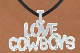 "<bR>                    EXCLUSIVELY OURS!!<Br>              AN ALLAN ROBIN DESIGN!!<bR>                  LEAD & NICKEL FREE!!<Br>W16159N - LARGE ""I LOVE COWBOYS""<Br>       BLACK SUEDE NECKLACE FROM<Br>                           $3.38 TO $7.50<BR>                                  &#169;2010"