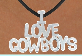 """<bR>                    EXCLUSIVELY OURS!!<Br>              AN ALLAN ROBIN DESIGN!!<bR>                  LEAD & NICKEL FREE!!<Br>W16159N - LARGE """"I LOVE COWBOYS""""<Br>       BLACK SUEDE NECKLACE FROM<Br>                           $3.38 TO $7.50<BR>                                  &#169;2010"""