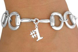 """<Br>            EXCLUSIVELY OURS!!<Br>      AN ALLAN ROBIN DESIGN!!<Br>           LEAD & NICKEL FREE!!<Br>W16331B - BIT-LINK BRACELET<Br>            & """"#1"""" CHARM FROM<bR>         $7.85 TO $17.50 &#169;2010"""