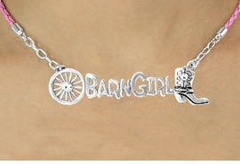 """<BR>                     EXCLUSIVELY OURS!!<Br>               AN ALLAN ROBIN DESIGN!!<bR>                    LEAD & NICKEL FREE!!<Br>      W16354N - WESTERN """"BARN GIRL""""<Br>    MARQUEE PENDANT & PINK BRAIDED<Br>NECKLACE FROM $8.44 TO $18.75 &#169;2010"""