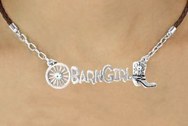 """<BR>                      EXCLUSIVELY OURS!!<Br>                AN ALLAN ROBIN DESIGN!!<bR>                     LEAD & NICKEL FREE!!<Br>       W16355N - WESTERN """"BARN GIRL""""<Br> MARQUEE PENDANT & BROWN BRAIDED<Br>NECKLACE FROM $8.44 TO $18.75 &#169;2010"""