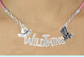 """<BR>                     EXCLUSIVELY OURS!!<Br>               AN ALLAN ROBIN DESIGN!!<bR>                    LEAD & NICKEL FREE!!<Br>     W16357N - WESTERN """"WILD THING""""<Br>    MARQUEE PENDANT & PINK BRAIDED<Br>NECKLACE FROM $7.85 TO $17.50 &#169;2010"""