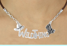 """<BR>                     EXCLUSIVELY OURS!!<Br>               AN ALLAN ROBIN DESIGN!!<bR>                    LEAD & NICKEL FREE!!<Br>    W16358N - WESTERN """"WILD THING""""<Br>MARQUEE PENDANT & BROWN BRAIDED<Br>NECKLACE FROM $7.85 TO $17.50 &#169;2010"""