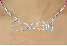 """<BR>               EXCLUSIVELY OURS!!<Br>         AN ALLAN ROBIN DESIGN!!<bR>              LEAD & NICKEL FREE!!<Br>    W16363N - AUSTRIAN CRYSTAL<Br>""""COWGIRL"""" MARQUEE PENDANT &<Br>    PINK BRAIDED NECKLACE FROM<Br>           $14.06 TO $31.25 &#169;2010"""