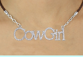 """<BR>               EXCLUSIVELY OURS!!<Br>         AN ALLAN ROBIN DESIGN!!<bR>              LEAD & NICKEL FREE!!<Br>   W16364N - AUSTRIAN CRYSTAL<Br>""""COWGIRL"""" MARQUEE PENDANT &<Br>BROWN BRAIDED NECKLACE FROM<Br>           $14.06 TO $31.25 &#169;2010"""