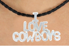 "<BR>                     EXCLUSIVELY OURS!!<Br>               AN ALLAN ROBIN DESIGN!!<bR>                    LEAD & NICKEL FREE!!<Br>          W16368N - ""I LOVE COWBOYS""<Br>  MARQUEE PENDANT & BLACK BRAIDED<Br>NECKLACE FROM $5.06 TO $11.25 &#169;2010"
