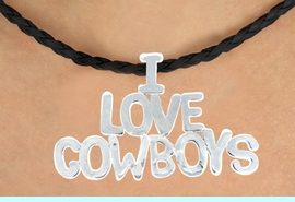 """<BR>                     EXCLUSIVELY OURS!!<Br>               AN ALLAN ROBIN DESIGN!!<bR>                    LEAD & NICKEL FREE!!<Br>          W16368N - """"I LOVE COWBOYS""""<Br>  MARQUEE PENDANT & BLACK BRAIDED<Br>NECKLACE FROM $5.06 TO $11.25 &#169;2010"""