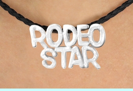 """<BR>                     EXCLUSIVELY OURS!!<Br>               AN ALLAN ROBIN DESIGN!!<bR>                    LEAD & NICKEL FREE!!<Br>   W16371N - """"RODEO STAR"""" MARQUEE<Br>PENDANT & BLACK BRAIDED NECKLACE<Br>          FROM $4.50 TO $10.00 &#169;2010"""