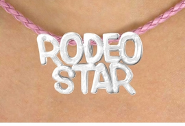 "<BR>                  EXCLUSIVELY OURS!!<Br>            AN ALLAN ROBIN DESIGN!!<bR>                 LEAD & NICKEL FREE!!<Br>W16372N - ""RODEO STAR"" MARQUEE<Br>PENDANT & PINK BRAIDED NECKLACE<Br>        FROM $4.50 TO $10.00 &#169;2010"