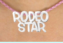 """<BR>                  EXCLUSIVELY OURS!!<Br>            AN ALLAN ROBIN DESIGN!!<bR>                 LEAD & NICKEL FREE!!<Br>W16372N - """"RODEO STAR"""" MARQUEE<Br>PENDANT & PINK BRAIDED NECKLACE<Br>        FROM $4.50 TO $10.00 &#169;2010"""