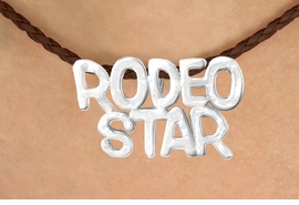 "<BR>                     EXCLUSIVELY OURS!!<Br>               AN ALLAN ROBIN DESIGN!!<bR>                    LEAD & NICKEL FREE!!<Br>    W16373N - ""RODEO STAR"" MARQUEE<Br>PENDANT & BROWN BRAIDED NECKLACE<Br>           FROM $4.50 TO $10.00 &#169;2010"