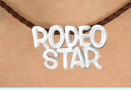 """<BR>                     EXCLUSIVELY OURS!!<Br>               AN ALLAN ROBIN DESIGN!!<bR>                    LEAD & NICKEL FREE!!<Br>    W16373N - """"RODEO STAR"""" MARQUEE<Br>PENDANT & BROWN BRAIDED NECKLACE<Br>           FROM $4.50 TO $10.00 &#169;2010"""