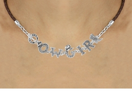 "<BR>                    EXCLUSIVELY OURS!!<Br>              AN ALLAN ROBIN DESIGN!!<bR>                   LEAD & NICKEL FREE!!<Br>     W16387N - ""COWGIRL"" WESTERN<Br>LETTERED BROWN BRAIDED NECKLACE<Br>          FROM $8.44 TO $18.75 &#169;2010"