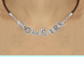 """<BR>                    EXCLUSIVELY OURS!!<Br>              AN ALLAN ROBIN DESIGN!!<bR>                   LEAD & NICKEL FREE!!<Br>     W16387N - """"COWGIRL"""" WESTERN<Br>LETTERED BROWN BRAIDED NECKLACE<Br>          FROM $8.44 TO $18.75 &#169;2010"""
