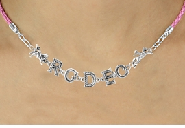 "<BR>                EXCLUSIVELY OURS!!<Br>          AN ALLAN ROBIN DESIGN!!<bR>               LEAD & NICKEL FREE!!<Br>     W16389N - ""RODEO"" WESTERN<Br>LETTERED PINK BRAIDED NECKLACE<Br>     FROM $10.13 TO $22.50 &#169;2010"