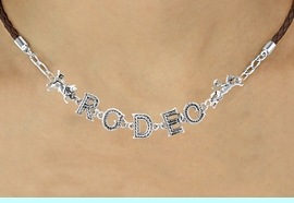 """<BR>                    EXCLUSIVELY OURS!!<Br>              AN ALLAN ROBIN DESIGN!!<bR>                   LEAD & NICKEL FREE!!<Br>        W16390N - """"RODEO"""" WESTERN<Br>LETTERED BROWN BRAIDED NECKLACE<Br>        FROM $10.13 TO $22.50 &#169;2010"""