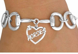 "<Br>              EXCLUSIVELY OURS!!<Br>        AN ALLAN ROBIN DESIGN!!<Br>             LEAD & NICKEL FREE!!<Br>  W16393B - BIT-LINK BRACELET<Br>& ""I LOVE HORSES"" CHARM FROM<Br>            $7.85 TO $17.50 &#169;2010"