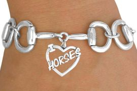 """<Br>              EXCLUSIVELY OURS!!<Br>        AN ALLAN ROBIN DESIGN!!<Br>             LEAD & NICKEL FREE!!<Br>  W16393B - BIT-LINK BRACELET<Br>& """"I LOVE HORSES"""" CHARM FROM<Br>            $7.85 TO $17.50 &#169;2010"""