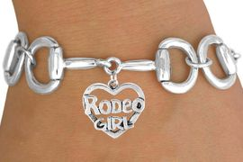 """<Br>            EXCLUSIVELY OURS!!<Br>      AN ALLAN ROBIN DESIGN!!<Br>           LEAD & NICKEL FREE!!<Br>W16394B - BIT-LINK BRACELET<Br> & """"RODEO GIRL"""" CHARM FROM<Br>          $7.85 TO $17.50 &#169;2010"""