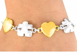 <bR>            EXCLUSIVELY OURS!!<Br>      AN ALLAN ROBIN DESIGN!!<Br>           LEAD & NICKEL FREE!!<Br> W16445B - TWO-TONE HEART<Br>& AUTISM AWARENESS PUZZLE<Br>         PIECE BRACELET &#169;2010<bR>          FROM $6.75 TO $15.00