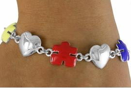 <bR>            EXCLUSIVELY OURS!!<Br>      AN ALLAN ROBIN DESIGN!!<Br>            LEAD & NICKEL FREE!!<Br>      W16447B - SILVER TONE &<Br>  COLORED AUTISM AWARENESS<Br>     PUZZLE PIECE & HEART LINK<Br>          BRACELET &#169;2010 FROM<bR>                   $6.19 TO $13.75