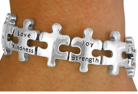 <bR>                EXCLUSIVELY OURS!!<Br>          AN ALLAN ROBIN DESIGN!!<Br>               LEAD & NICKEL FREE!!<BR> W16836B - MOTIVATIONAL MULTI<Br>WORD AUTISM AWARENESS PUZZLE<Br>    PIECE STRETCH BRACELET&#169;2010<Br>              FROM $8.44 TO $18.75