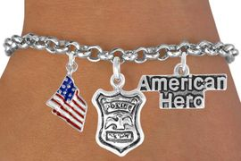 """<Br>                EXCLUSIVELY OURS!!<Br>          AN ALLAN ROBIN DESIGN!!<Br>               LEAD & NICKEL FREE!!<Br>   W17611B - """"AMERICAN HERO"""" <br>POLICE MAN THREE CHARM BRACELET <BR>            FROM $4.50 TO $10.00"""