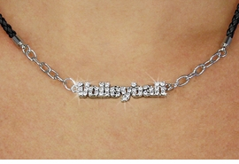 """<BR>                   EXCLUSIVELY OURS!!<Br>             AN ALLAN ROBIN DESIGN!!<bR>                  LEAD & NICKEL FREE!!<Br> W18732N - PAVE CRYSTAL """"VOLLEYBALL"""" <Br>PENDANT & BLACK BRAIDED NECKLACE<Br>         FROM $8.44 TO $18.75 &#169;2011"""