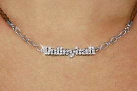 """<BR>                   EXCLUSIVELY OURS!!<Br>             AN ALLAN ROBIN DESIGN!!<bR>                  LEAD & NICKEL FREE!!<Br> W18733N - PAVE CRYSTAL """"VOLLEYBALL"""" <Br>PENDANT & BROWN BRAIDED NECKLACE<Br>         FROM $8.44 TO $18.75 &#169;2011"""