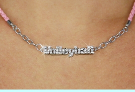 """<BR>                   EXCLUSIVELY OURS!!<Br>             AN ALLAN ROBIN DESIGN!!<bR>                  LEAD & NICKEL FREE!!<Br> W18734N - PAVE CRYSTAL """"VOLLEYBALL"""" <Br>PENDANT & PINK BRAIDED NECKLACE<Br>         FROM $8.44 TO $18.75 &#169;2011"""
