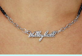 """<BR>                   EXCLUSIVELY OURS!!<Br>             AN ALLAN ROBIN DESIGN!!<bR>                  LEAD & NICKEL FREE!!<Br> W18736N - POLISHED SILVER """"VOLLEYBALL"""" <Br>PENDANT & BLACK BRAIDED NECKLACE<Br>         FROM $6.75 TO $15.00&#169;2011"""