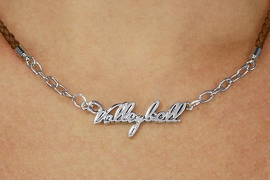 """<BR>                   EXCLUSIVELY OURS!!<Br>             AN ALLAN ROBIN DESIGN!!<bR>                  LEAD & NICKEL FREE!!<Br> W18737N - POLISHED SILVER """"VOLLEYBALL"""" <Br>PENDANT & BROWN BRAIDED NECKLACE<Br>         FROM $6.75 TO $15.00 &#169;2011"""