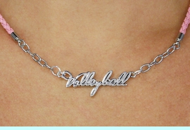 """<BR>                   EXCLUSIVELY OURS!!<Br>             AN ALLAN ROBIN DESIGN!!<bR>                  LEAD & NICKEL FREE!!<Br> W18738N - POLISHED SILVER """"VOLLEYBALL"""" <Br>    PENDANT & PINK BRAIDED NECKLACE<Br>             FROM $6.75 TO $15.00 &#169;2011"""