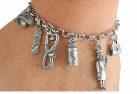 <Br>     LEAD, CADMIUM,  & NICKEL FREE!<Br> W18758B - NURSE THEME SIX CHARM <BR>BRACELET FROM $10.38 EACH �2012