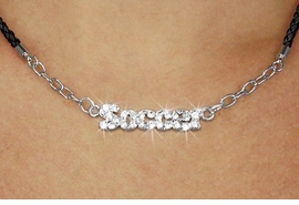 """<BR>                   EXCLUSIVELY OURS!!<Br>             AN ALLAN ROBIN DESIGN!!<bR>                  LEAD & NICKEL FREE!!<Br> W18847N - PAVE CRYSTAL """"SOCCER"""" <Br>PENDANT & BLACK BRAIDED NECKLACE<Br>         FROM $5.63 TO $12.50 ©2011"""