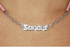"""<BR>                   EXCLUSIVELY OURS!!<Br>             AN ALLAN ROBIN DESIGN!!<bR>                  LEAD & NICKEL FREE!!<Br> W18848N - PAVE CRYSTAL """"SOCCER"""" <Br>PENDANT & PINK BRAIDED NECKLACE<Br>         FROM $5.63 TO $12.50 ©2011"""