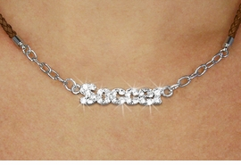 """<BR>                   EXCLUSIVELY OURS!!<Br>             AN ALLAN ROBIN DESIGN!!<bR>                  LEAD & NICKEL FREE!!<Br> W18849N - PAVE CRYSTAL """"SOCCER"""" <Br>PENDANT & BROWN BRAIDED NECKLACE<Br>         FROM $5.63 TO $12.50 ©2011"""