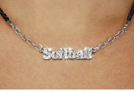 """<BR>                   EXCLUSIVELY OURS!!<Br>             AN ALLAN ROBIN DESIGN!!<bR>                  LEAD & NICKEL FREE!!<Br> W18851N - PAVE CRYSTAL """"SOFTBALL"""" <Br>PENDANT & BLACK BRAIDED NECKLACE<Br>         FROM $5.63 TO $12.50 &#169;2011"""