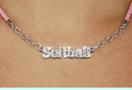 """<BR>                   EXCLUSIVELY OURS!!<Br>             AN ALLAN ROBIN DESIGN!!<bR>                  LEAD & NICKEL FREE!!<Br> W18852N - PAVE CRYSTAL """"SOFTBALL"""" <Br>PENDANT & PINK BRAIDED NECKLACE<Br>         FROM $5.63 TO $12.50 &#169;2011"""