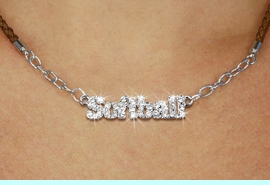 """<BR>                   EXCLUSIVELY OURS!!<Br>             AN ALLAN ROBIN DESIGN!!<bR>                  LEAD & NICKEL FREE!!<Br> W18853N - PAVE CRYSTAL """"SOFTBALL"""" <Br>PENDANT & BROWN BRAIDED NECKLACE<Br>         FROM $5.63 TO $12.50 &#169;2011"""
