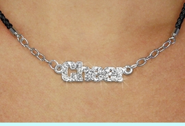 """<BR>                   EXCLUSIVELY OURS!!<Br>             AN ALLAN ROBIN DESIGN!!<bR>                  LEAD & NICKEL FREE!!<Br> W18855N - PAVE CRYSTAL """"CHEER"""" <Br>PENDANT & BLACK BRAIDED NECKLACE<Br>         FROM $5.63 TO $12.50 &#169;2011"""