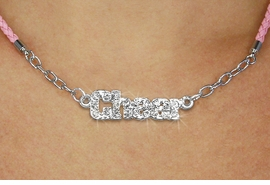 "<BR>                   EXCLUSIVELY OURS!!<Br>             AN ALLAN ROBIN DESIGN!!<bR>                  LEAD & NICKEL FREE!!<Br> W18856N - PAVE CRYSTAL ""CHEER"" <Br>PENDANT & PINK BRAIDED NECKLACE<Br>         FROM $5.63 TO $12.50 &#169;2011"
