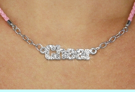 """<BR>                   EXCLUSIVELY OURS!!<Br>             AN ALLAN ROBIN DESIGN!!<bR>                  LEAD & NICKEL FREE!!<Br> W18856N - PAVE CRYSTAL """"CHEER"""" <Br>PENDANT & PINK BRAIDED NECKLACE<Br>         FROM $5.63 TO $12.50 &#169;2011"""