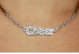 "<BR>                   EXCLUSIVELY OURS!!<Br>             AN ALLAN ROBIN DESIGN!!<bR>                  LEAD & NICKEL FREE!!<Br> W18857N - PAVE CRYSTAL ""CHEER"" <Br>PENDANT & BROWN BRAIDED NECKLACE<Br>         FROM $5.63 TO $12.50 &#169;2011"