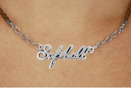 """<BR>                   EXCLUSIVELY OURS!!<Br>             AN ALLAN ROBIN DESIGN!!<bR>                  LEAD & NICKEL FREE!!<Br> W18908N - POLISHED SILVER """"SOFTBALL"""" <Br>    PENDANT & BROWN BRAIDED NECKLACE<Br>             FROM $6.75 TO $15.00 &#169;2011"""