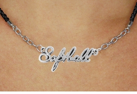 """<BR>                   EXCLUSIVELY OURS!!<Br>             AN ALLAN ROBIN DESIGN!!<bR>                  LEAD & NICKEL FREE!!<Br> W18909N - POLISHED SILVER """"SOFTBALL"""" <Br>    PENDANT & BLACK BRAIDED NECKLACE<Br>             FROM $6.75 TO $15.00 &#169;2011"""