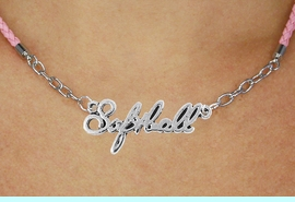 """<BR>                   EXCLUSIVELY OURS!!<Br>             AN ALLAN ROBIN DESIGN!!<bR>                  LEAD & NICKEL FREE!!<Br> W18910N - POLISHED SILVER """"SOFTBALL"""" <Br>    PENDANT & PINK BRAIDED NECKLACE<Br>             FROM $6.75 TO $15.00 &#169;2011"""