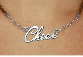 "<BR>                   EXCLUSIVELY OURS!!<Br>             AN ALLAN ROBIN DESIGN!!<bR>                  LEAD & NICKEL FREE!!<Br> W18916N - POLISHED SILVER ""CHEER"" <Br>    PENDANT & BROWN BRAIDED NECKLACE<Br>             FROM $6.75 TO $15.00 &#169;2011"
