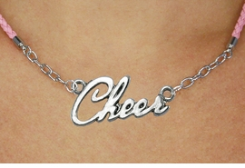 "<BR>                   EXCLUSIVELY OURS!!<Br>             AN ALLAN ROBIN DESIGN!!<bR>                  LEAD & NICKEL FREE!!<Br> W18917N - POLISHED SILVER ""CHEER"" <Br>    PENDANT & PINK BRAIDED NECKLACE<Br>             FROM $6.75 TO $15.00 &#169;2011"