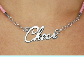"""<BR>                   EXCLUSIVELY OURS!!<Br>             AN ALLAN ROBIN DESIGN!!<bR>                  LEAD & NICKEL FREE!!<Br> W18917N - POLISHED SILVER """"CHEER"""" <Br>    PENDANT & PINK BRAIDED NECKLACE<Br>             FROM $6.75 TO $15.00 &#169;2011"""